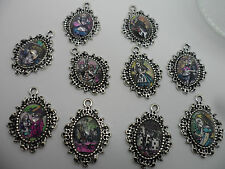 10 x Alice in Wonderland Charm Pendants for bracelets,Each Pendant setting is Ap