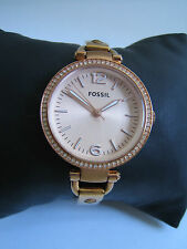 FOSSIL WATCH WOMENS GEORGIA ES3226 STAINLESS STEEL ROSE GOLD CRYSTALS GENUINE