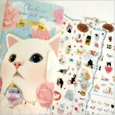 Choo Choo Cat Sticker Set Album 8 Sheets Paper and PVC Scrapbooking Diary deco