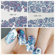 2X Ongles Art Autocollants Transfert D'eau Décalcomanie Fleur Bleu Nails Sticker