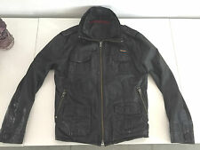 MENS BLACK LEATHER SUPERDRY BRAD ZIPPER JACKET SIZE XL
