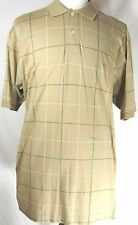 Men's NAUTICA Short Sleeve Casual Polo Shirt size XL Beige Checkered Cotton