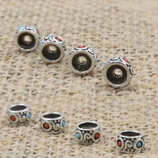 1Pc Tibetan Silver Turquoise Round Spacer Beads Charms Jewelery Making 8x4.5mm