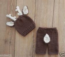 Crochet Newborn Photography Infant Knit Deer Hat Pant Costume Baby Photo Props