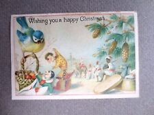 ANTIQUE CHRISTMAS Greetings Card Bluetit Jack in the Box Pierrot Clown Doll 1891