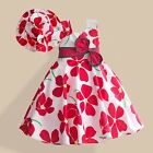 Girl Dress + Hat Plum Flower Print Party Pageant Holiday Kids Clothing SZ 2-8