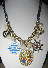 "Betsey Johnson ""Anchor Boost"" Pin-Up Girl Multi-Charm Necklace, 19"""
