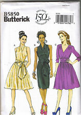 Mock Wrap Evening Cocktail Dress Tie Bow Butterick Sewing Pattern 16 18 20 22 24