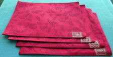 Set of FOUR Lenox Holiday Holly Damask Red Cloth Placemats NEW