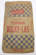 Purina Bulky-Las Red & Blue Checkerboard Burlap Feed Gunny Sack Double Sided
