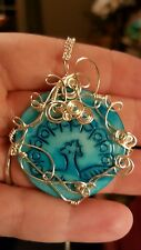 Wire wrapped carved peacock cameo mop pendant silver plated copper #100