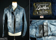 Vintage GRAIS Genuine Leather Jacket Coat w/Pile Lining Made in USA 42 Blue