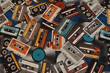 MUSIC! CASSETTE TAPES AND RECORDS  100% Cotton Quilt Fabric *by 1/2 yard* BTHY