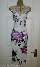 FAB LACE DESIGN MIDI PENCIL WIGGLE EVENING PARTY DRESS SIZE 10 12 NEW
