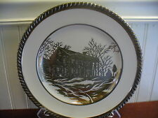 Vintage Johnson Bros. England Old English Federal Mansion Silver Overlay Plate