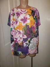 Pleione 3X Short Sleeve Blouse Purple Pink Gold Floral Front Solid Purple Back