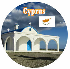 CYPRUS / FLAG / SIGHTS - ROUND SOUVENIR FRIDGE MAGNET - BRAND NEW - GIFT