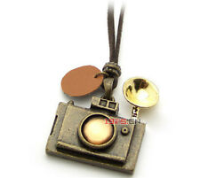 Nice Fashion Vintage Camera Pendant With Faux Long Leather Rope Necklace Jewelry