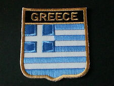 BACKPACKERS NATIONAL COUNTRY SHIELD FLAG SEW/IRON ON PATCH:- GREECE
