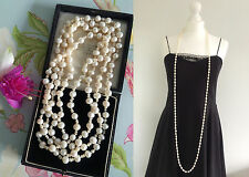 New White Lustrous Freshwater Pearls Long Flapper Necklace Bridal Party Gift Box