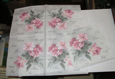 5 GERMAN BEAUTIFUL PINK ROSES FLOWERS LOVE AMORE FRENCH DECOUPAGE PAPER NAPKINS