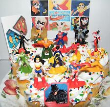 DC Super Hero Girls Cake Toppers Set of 14 Deluxe Figures, Hero Ring, Tattoo