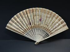 MAGNIFICENT FRENCH ANTIQUE HAND-PAINTED GILT FAN WITH SEQUINS.