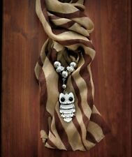 Animal/ Brown Zebra Print, Polyester Scarf With Pendant