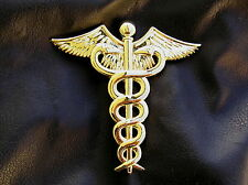 "UK ~ DOCTOR MEDICAL LOGO 3"" GOLD-PLATED METAL CAR BADGE Caduceus Emblem *NEW*"