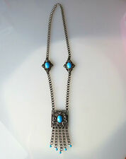 ED LEE signed Massive 1950's Silver tone Blue glass necklace