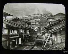 GLASS MAGIC LANTERN SLIDE YOKOHAMA AFTER EARTHQUAKE C1880  OLD JAPAN JAPANESE