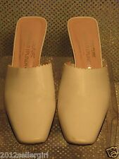 DONALD J PLINER COUTURE WHITE/CREAM ITALIAN LEATHER SLIP-ON KITTEN HEEL MULES 7M