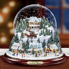 Victorian Village  Christmas Snow / Water Globe Bradford Exchange Thomas Kinkade