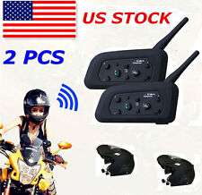 2x BTI Bluetooth Motorcycle Helmet Intercom Interphone Headset 1200M 6 Riders V6