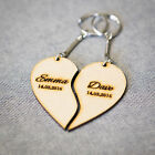 Personalised Customised Keyring Gift Wood Love Heart 2 Piece Dates
