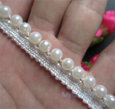 1 yard White Pearl Beaded Lace Edge Trim Ribbon Wedding Applique Sewing Craft