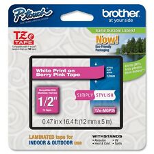 "Brother TZEMQP35 White on Berry Pink Label Tape - 0.47"" Width x 16.40 ft Length"