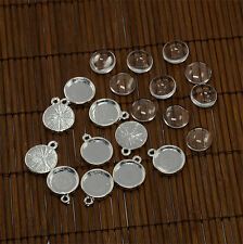 10Sets Domed Transparent Glass Cabochons Settings Silver Pendant for DIY 12mm