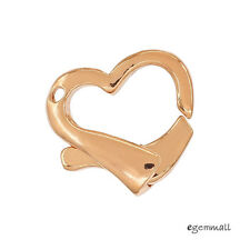 Large Rose Gold Plated Sterling Silver Heart Lobster Clasp 17mm #99257