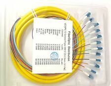 Lot of 5 12 Strand 9/125 Fiber Optic Pigtail 3m LC/UPC Single Mode(IN STOCK)