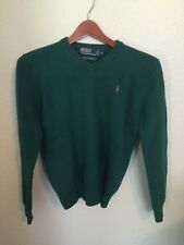 Ralph Lauren Polo Womens Green V Neck Sweater Size small s Solid 100% Lambs Wool