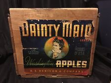 Vintage Wood Wooden Apple Box Crate Dainty Maid Wenatchee Washington Denison