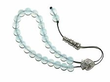 0258 Loose Strung Unique Prayer Worry Beads 25 x 8mm Aquamarine Glass Beads