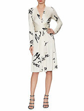 BNWT Wrap Waist Dress by ISSA London in Cream and Black Silk Jersey UK 8 / US 4