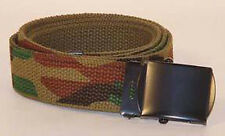 "Woodland Camo Reversible to Olive Drab Cotton Web Belt - 54"" Can Be Cut To Size"