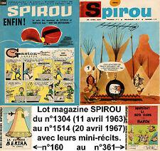 SPIROU hebdos du n°1304 au 1514-11/04/1963 au 20/04/1967+mini-récits Lot correct