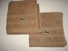 """2 LACOSTE BROWN HAND TOWELS 13"""" x 13"""""""