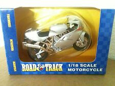 MAISTO ROAD & TRACK SILVER DUCATI MOTORCYCLE DIE CAST 1:18