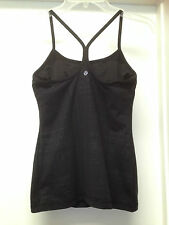 LULULEMON POWER Y BLACK MANIFESTO PRINT YOGA BRA TANK TOP Sz 6