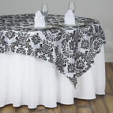 "Black White FLOCKING DAMASK TABLE OVERLAY 72x72"" Wedding Party Linens SALE"